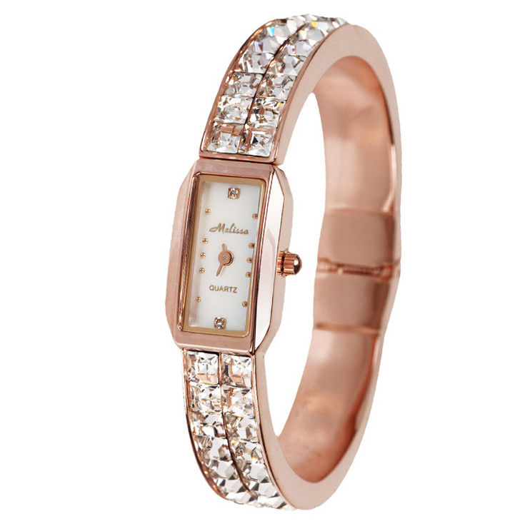 Bling Crystals Wrist watch for Women Luxury MELISSA Bangle Watches Elegant Ladies Party Dress Bracelet Watch Montre Femme F8010 free silver bracelet watch set full diamond bangle watch lady luxury dress jewelry charm watch rhinestone bling crystal bangle