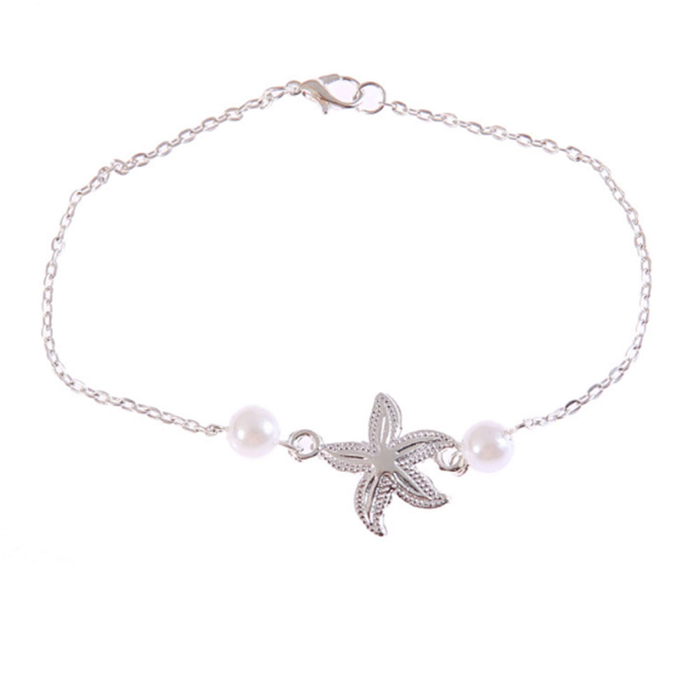 Gold Silver Color Anklet Women Starfish Pearl Beads Bohemian Ankle Bracelet cheville Boho Foot Jewelry Gift