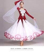 Lady Ballroom Dancing Dress Girls Waltz Dancing Compitition Dress Female Diamond Decorate Costomes Female Tango Dresses D 0342