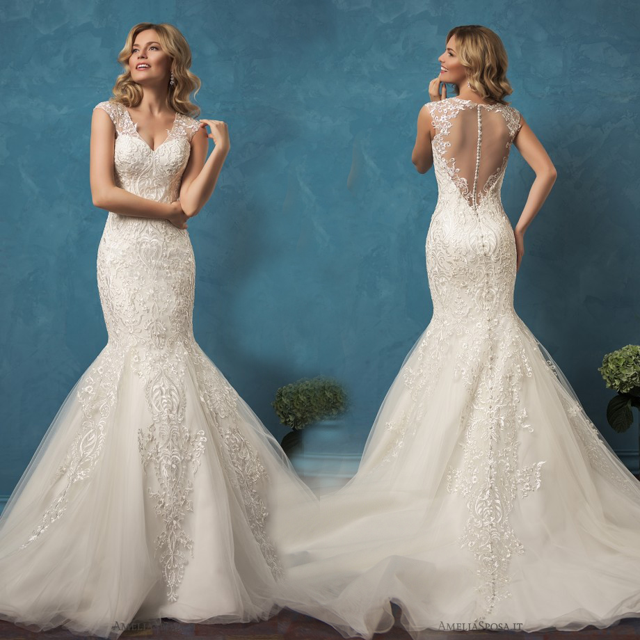 Elegant Mermaid Lace Wedding Dresses 2017 New Cap Sleeve Applique ...