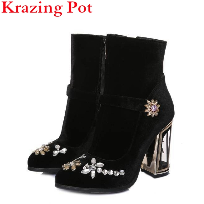 Fashion Brand Winter Shoes Pink Round Toe Crystal Women Mid-calf Boots Warm High Heel Brid Cage Causal Sexy Cowboy Boots L13