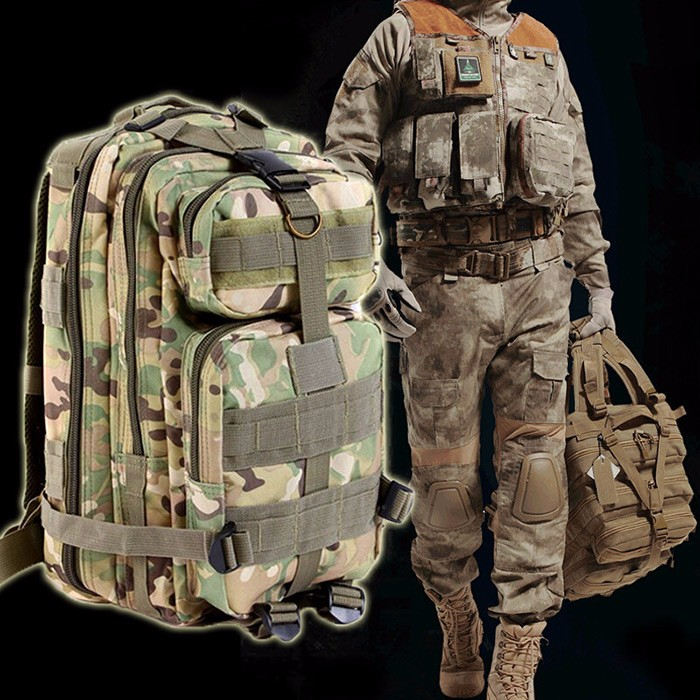 30L Tactical Backpack 3P Outdoor Oxford Fabric Military Trekking Sport Travel Rucksacks Camping Hiking Camouflage Bag|Climbing Bags| |  - title=