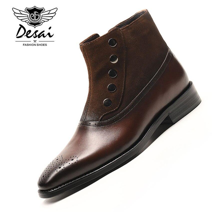 Nova Chegada de Luxo Da Marca Homem Botas De Couro Genuíno de Negócios Formais Sapatos Da Moda Ankle Boots Cowboy Ocidental Alta Chelsea dos homens