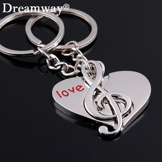 Couple Keychains Love Heart Keychain Music Note Ring Key Chain Lover