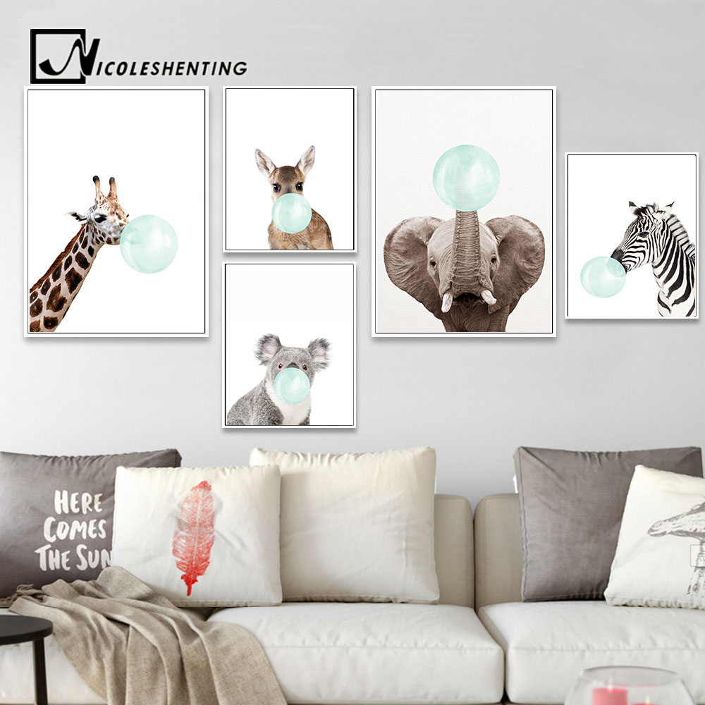 NICOLESHENTING Baby Animal Zebra Girafe Canvas Poster Nursery Wall Art Print Painting Nordic Picture Children Bedroom Decoration