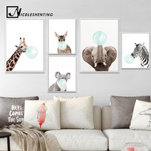 NICOLESHENTING Baby Animal Zebra Girafe Canvas Poster Nursery Wall Art Print Painting Nordic Picture Children Bedroom Decoration(China)