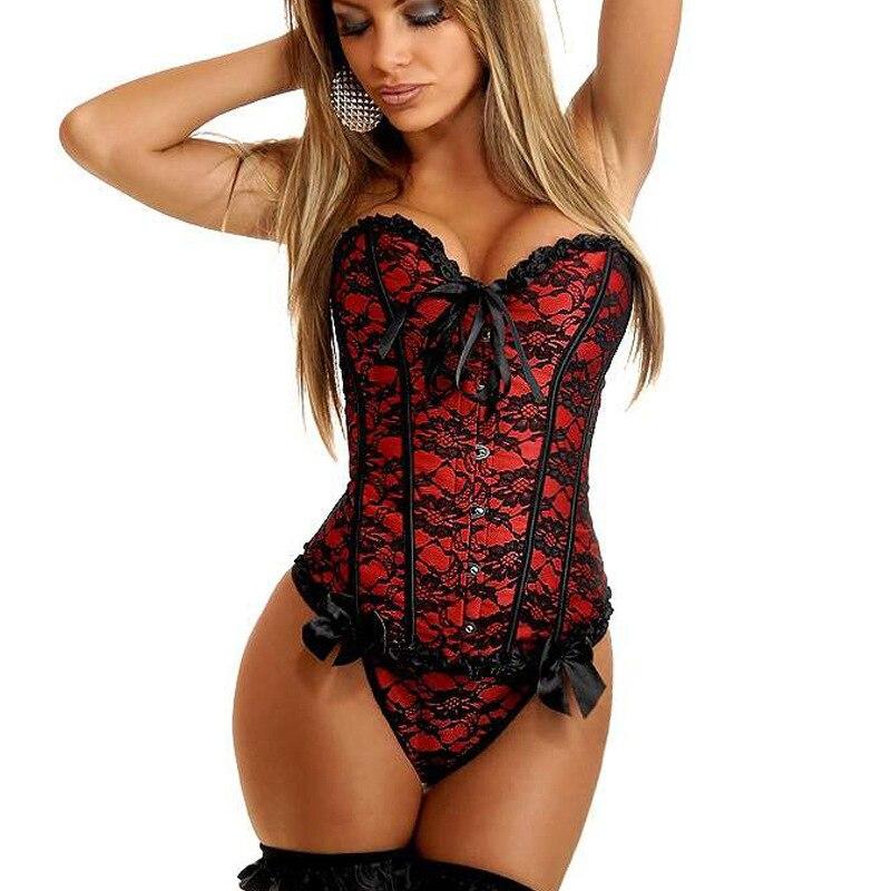 Sexy lingerie Women steampunk gothic Plus Size S-6XL   Corsets   Lace Up boned Overbust   Bustier   Waist Cincher Body shaper corselet