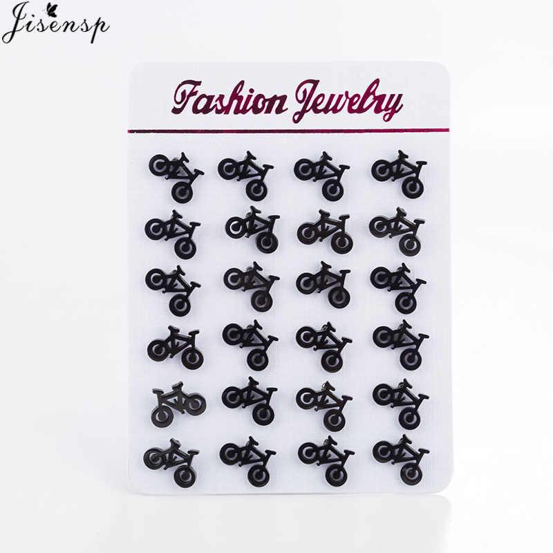 Jisensp Leuke Tiny Fiets Oorbellen Voor Vrouwen Beste Vriend Geschenken Oor Sieraden Fashion Zwart Fitness Sport Stud Oorbellen