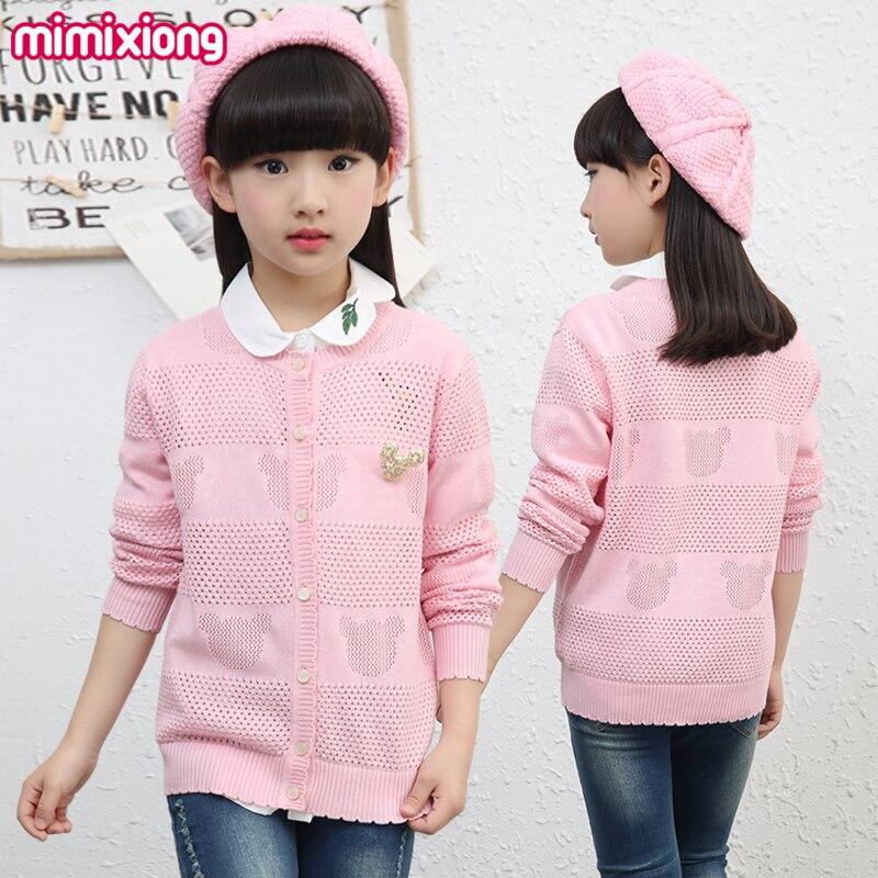 Cartoon Bear Crochet Kids Girls Cardigans Autumn Thin Girls Knit Sweater Jacket Spring Cotton Toddler Hollow Out Tops Button Up