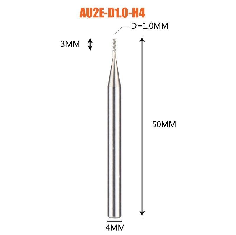 1 pc 3 флейты фрезы вольфрамового сплава концом ЧПУ фреза алюминий фреза для алюминия и деревообрабатывающие - Длина режущей кромки: 1PC-AU2E-D1.0-H4
