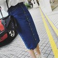 2017 Denim Skirts Women High Waist Skirt Single Breasted Jupe Longue Slim Saias Jeans Package Hip Jupe Tide Pencil Faldas Female