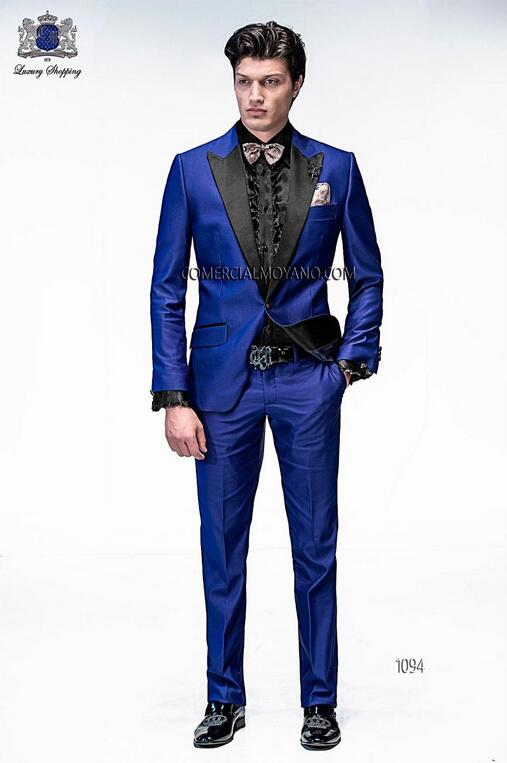 2017 Italian Mens Suits Royal Blue Wedding Tuxedos Jacket+Pants+Tie ...