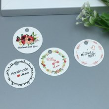100 pcs white / brown variety of design round card DIY handmade wedding notes label flowers / cake / chocolate decorative card(China)