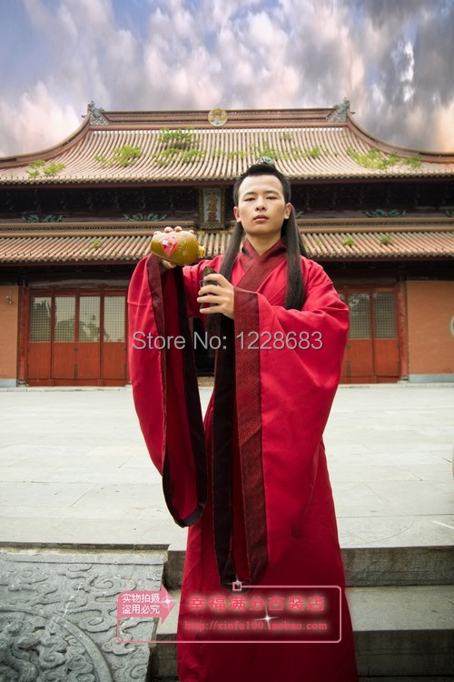 Men's Hanfu Costume Cosplay Clothes Isconvoluting Male Sleeves Chinese Black Stage Clothes Free Shipping