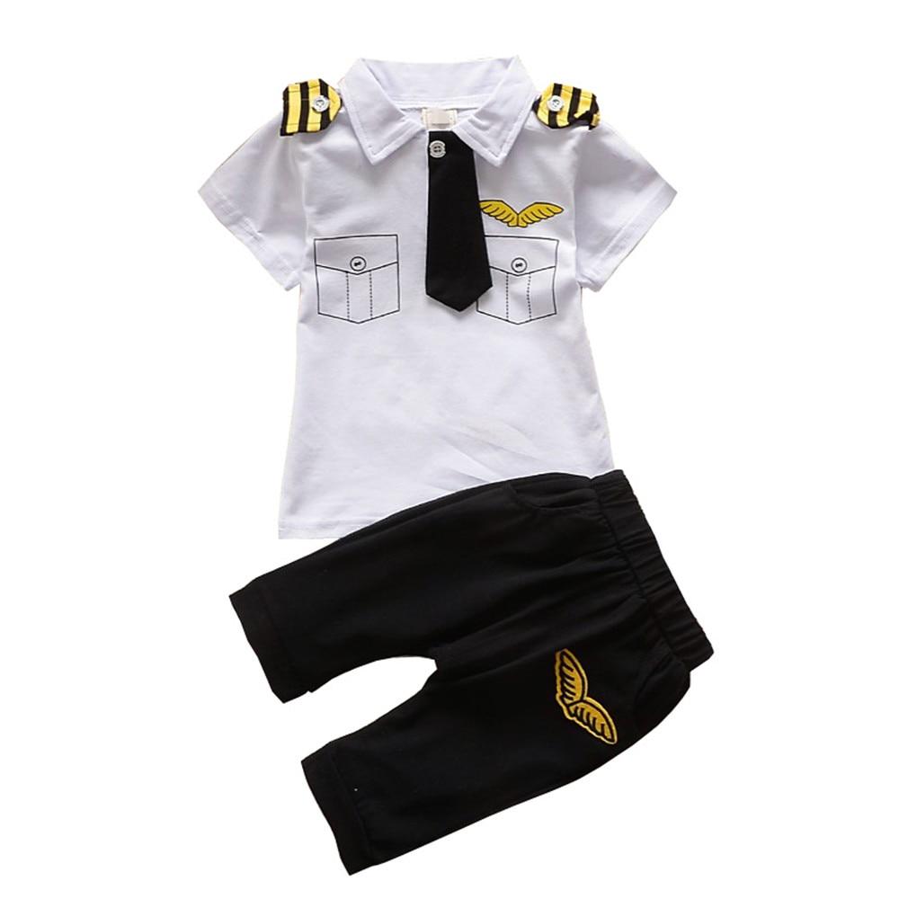 BibiCola Neugeborenen baby jungen Kleidung Set Sommer kind junge Pilot Kleidung Baumwolle Kinder Kapitän Kostüm Kleinkind militär uniformen
