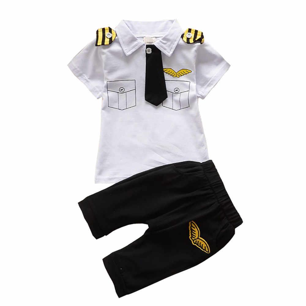 BibiCola nowonarodzone dziecko chłopców odzież zestaw letni niemowlę chłopiec Pilot ubrania bawełniane dzieci kapitan kostium maluch mundury wojskowe