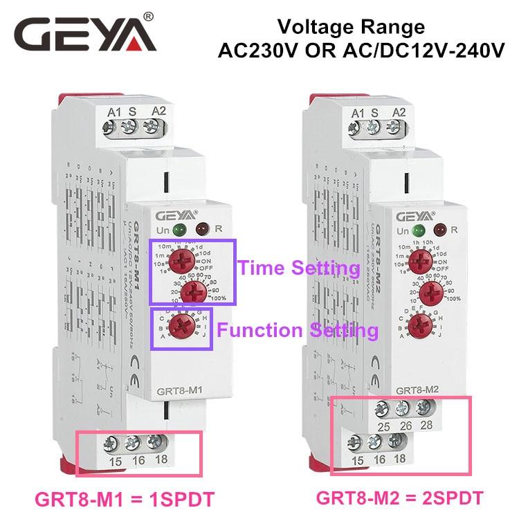 10PCS GEYA GRT8-M 16A Multifunction Time Relay 12V 24V 220V AC DC Wide Range Relay Delay Timer SPDT DPDT 10 pcs car spdt 5 pin 1no 1nc green indicator relay ceramic socket 80a 12v dc