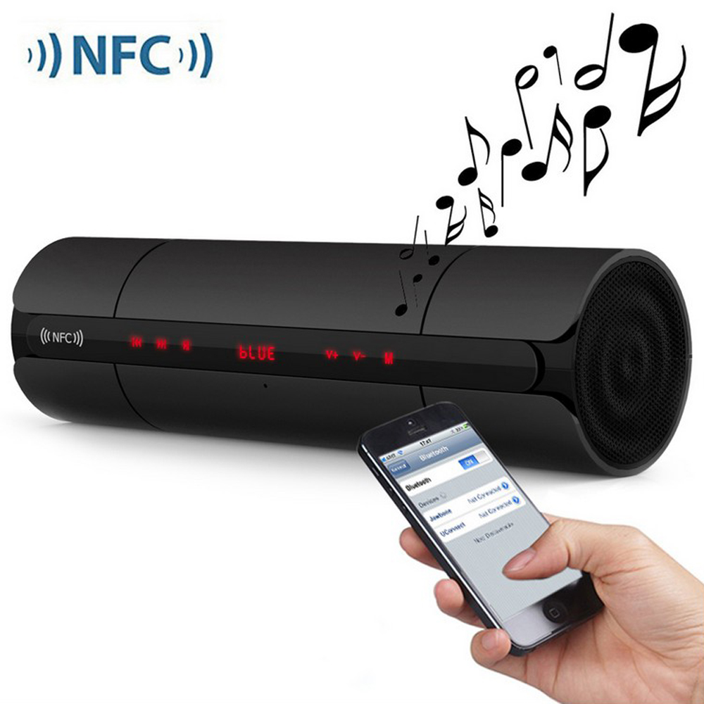 Fashion KR8800 Cylinder NFC Wireless Stereo Bluetooth Speaker With Bass FM Radio TF Card USB Drive Music 3.5mm Audio Input.