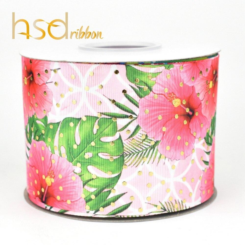 HSDRibbon 75 MM 3 cal moda lato holograficzny złota folia drukowane na HT ryps wstążka