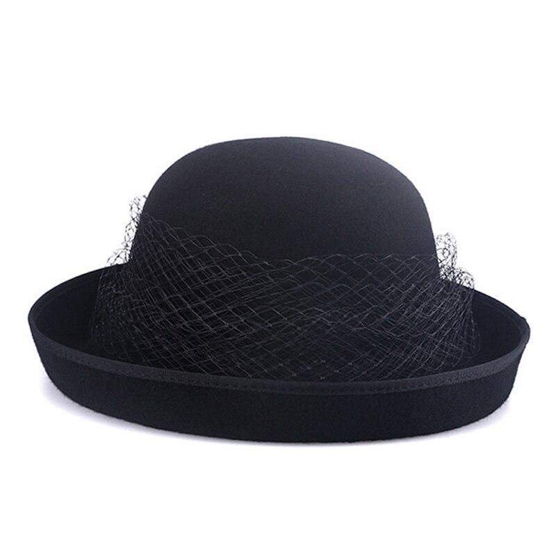 FS estilo británico negro mujer Lana fieltro Fedora gasa con flor de invierno rizo de ala ancha sombrero mujer niñas boda sombreros - 6