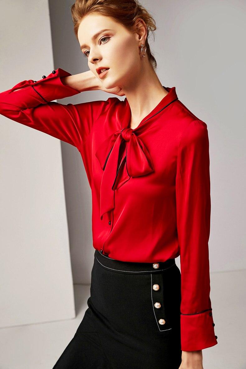 100 Qualité Blouses Manches Haute Col Longues Pure Soie Femmes Ivoire Tuyauterie Chemises De Élégant Arc Piste rouge rrUg6w