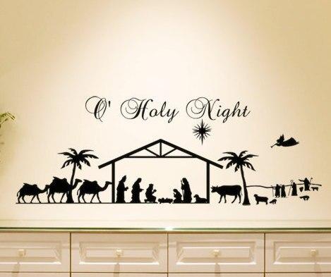 عيد جدار صائق غرفة المعيشة ديكور المنزل جدار ملصقا المقدسة المهد المشهد الليلي الحيوان الرجال silhouette الفينيل جدارية S-2