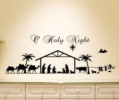 Christmas Wall Decal Home Living Room Decor Wall Sticker Holy Night  Nativity Scene Animal Men Silhouette Vinyl Wall Mural S 2