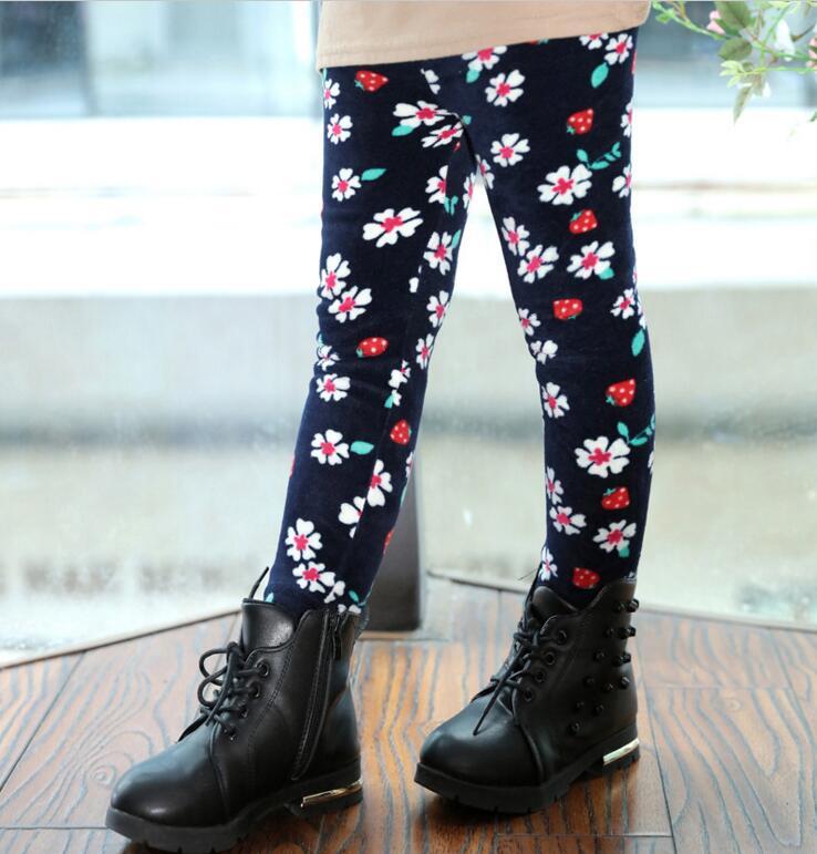 VEENIBEAR Winter Warm Girls Leggings Star Print Girls Pants Kids Children Elastic Waist Girls Trousers Clothing 2-7T 4