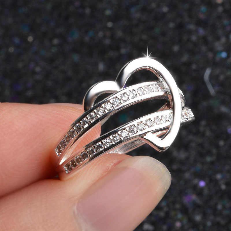 LNRRABC, novedad única, 1 pieza, regalos hipoalergénicos, 2018, plateado, dos filas de anillos de circón de medio Corazón, envío gratis, boda