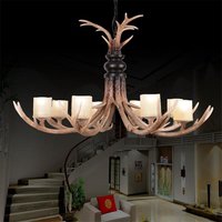 European Style American Pastoral Vintage Chandelier Resin Antler Lamp 8 Pcs Lights Restaurant Hotel Bar Lighting