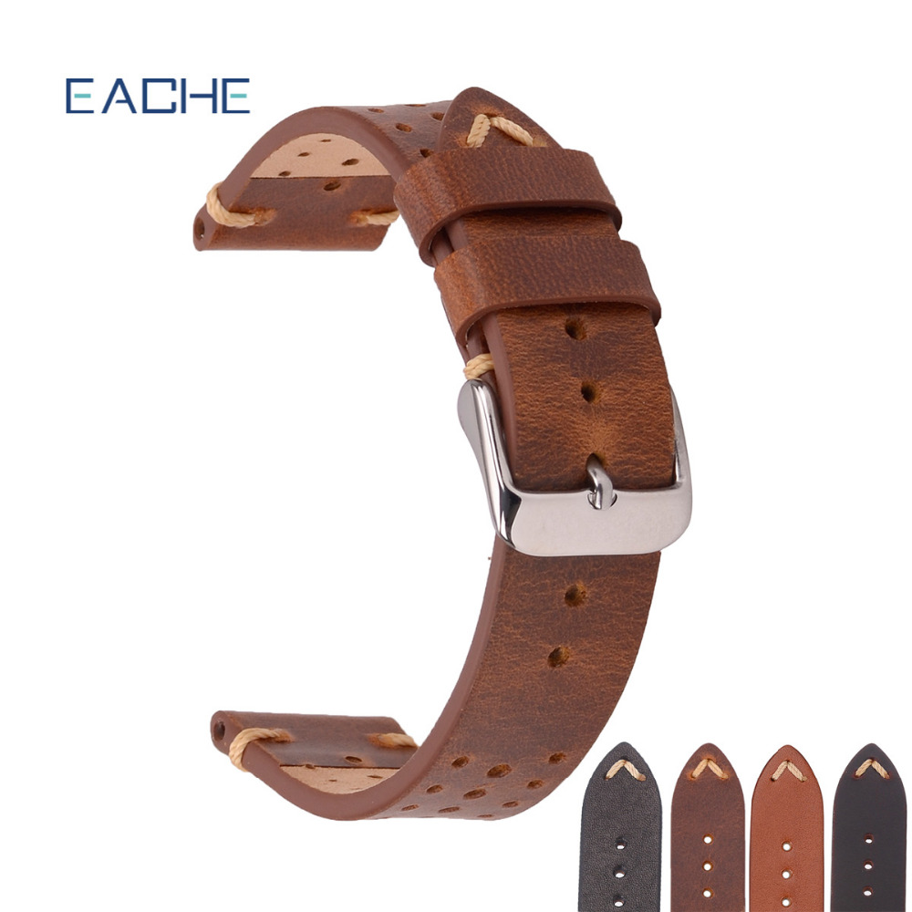 EACHE High Quality Special Watch Band Racing Band Design Hole design Genuine Calfskin Leather Watchband Straps 18mm 20mm 22mm