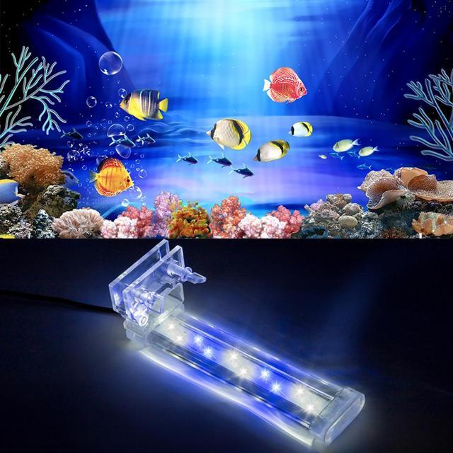 4 Types Aquarium Aquarium Aquarium Lumiere Led Clip Bleu Blanc