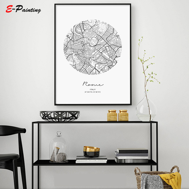 Nordic Style Black White Wall Art Map World Italy City Canvas Painting Poster Picture for Home Decoration No Frame