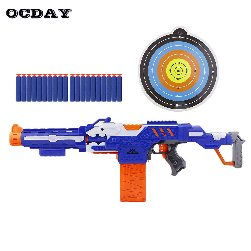 OCDAY Electrical Soft Bullet Toy Gun Pistol Sniper Rifle Plastic Gun Arme Arma Shooting Submachine GunToys For Kid Gift In Stock cross fire toy gun barrett sniper rifle capable of firing bullets soft bullet gun and there are children s toys flash sound gun