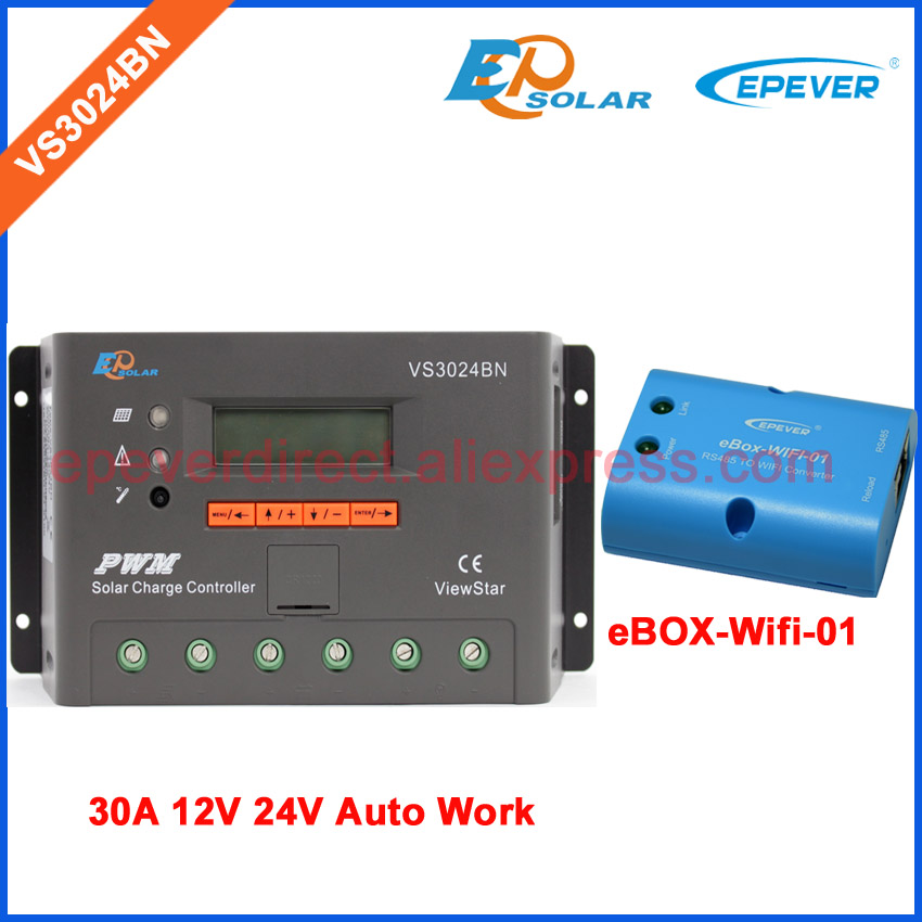 eBOX-wifi-01 VS3024BN 30A 30amp solar portable controller ViewStar series PWM EPEVER 12v 24v wifi connect APP use pwm new solar controller viewstar series vs2024bn with usb communication cable 20a 12v 24v wifi connect app box adapter