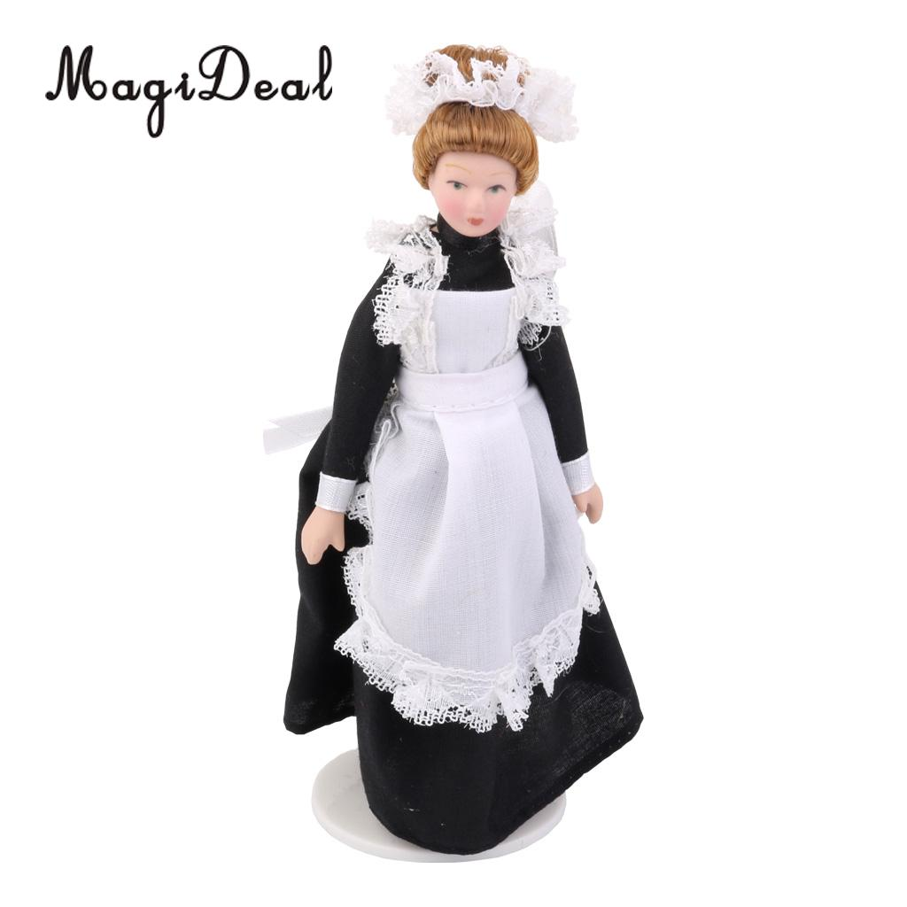 MagiDeal 1/12 Dollhouse Miniature Porcelain Dolls Victorian Servant w White Display Stand for Baby Born Kids Birthday Gift Toy 1