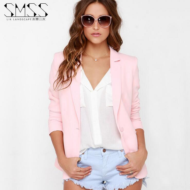 XS XXL 6 Size Women Blazer Pink 2017 Spring Autumn Big Size Lapel Jackets Long Sleeve Casual ...