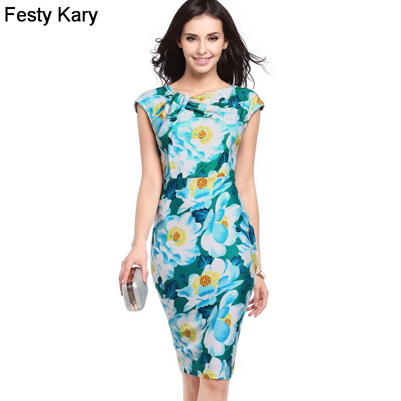 067cd4568de6 Festy Kary Fashion 2018 New Office Lady Style Women Formal Summer Dress 8  Colors Knee Length
