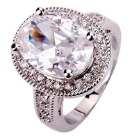 New Women Rings  Alluring Jewelry Oval Cut Glittering Pure White Topaz 925 Silver Ring Size 7 8 9 10 11  Free Shipping Wholesale
