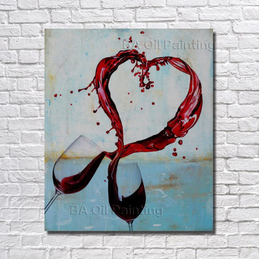 Free Shipping Handpainted Lover Cheers Glass of Wine Oil ...