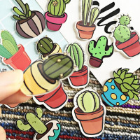 1 PC Cartoon Cactus Bonsai Brooch Acrylic Badges Icons on The Backpack Pin Badge Decoration Badges for Clothing