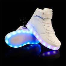 High help Children Breathable Sneakers Fashion Sport Led Usb font b Luminous b font font b