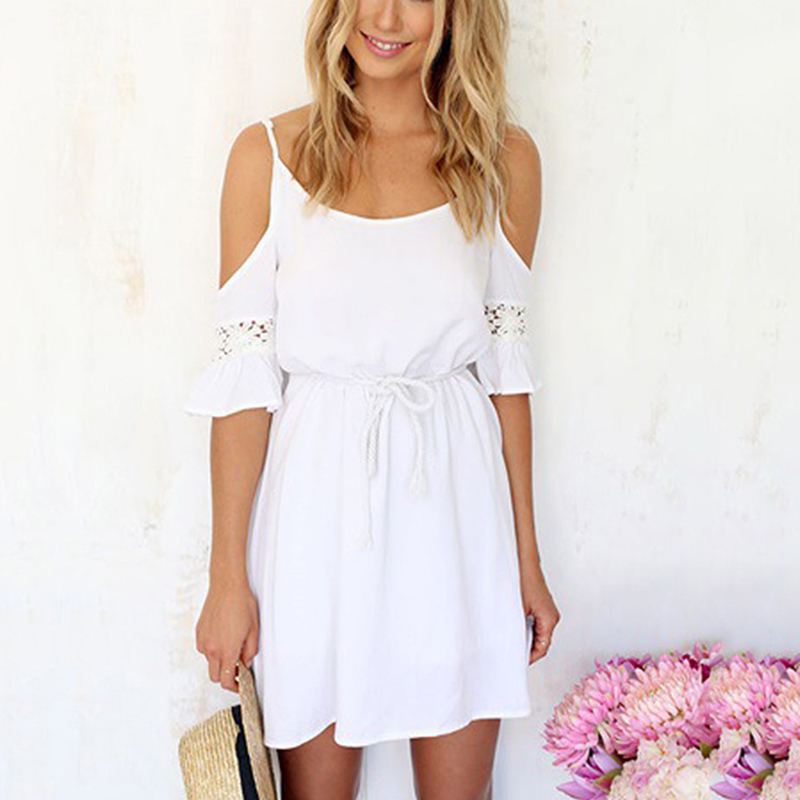 Sexy Thin Lace Chiffon Hollow Out Spaghetti Strap Female Mini Beach Dress Off Shoulder White Solid Color Women Short dress