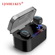TWS Bluetooth Fone de Ouvido Fones de Ouvido Estéreo de Alta Fidelidade Sem Fio Microfone para Celular Com Carregador de Controle Caixa De Carregamento Mini LJ-MILLKEY YZ132