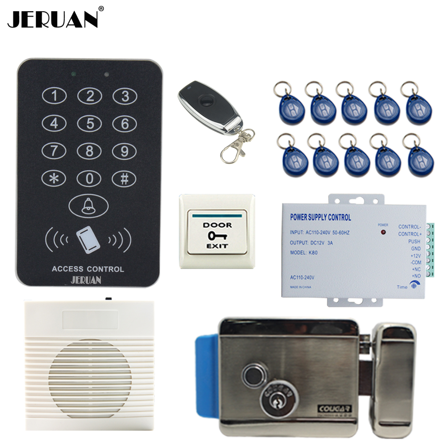JERUAN Cool black RFID Password Access Controller system kit+doorbell+Remote control+Exit Button+Free shipping jeruan metal waterproof rfid password touch access controller system kit speaker doorbell remote control in stock free shipping