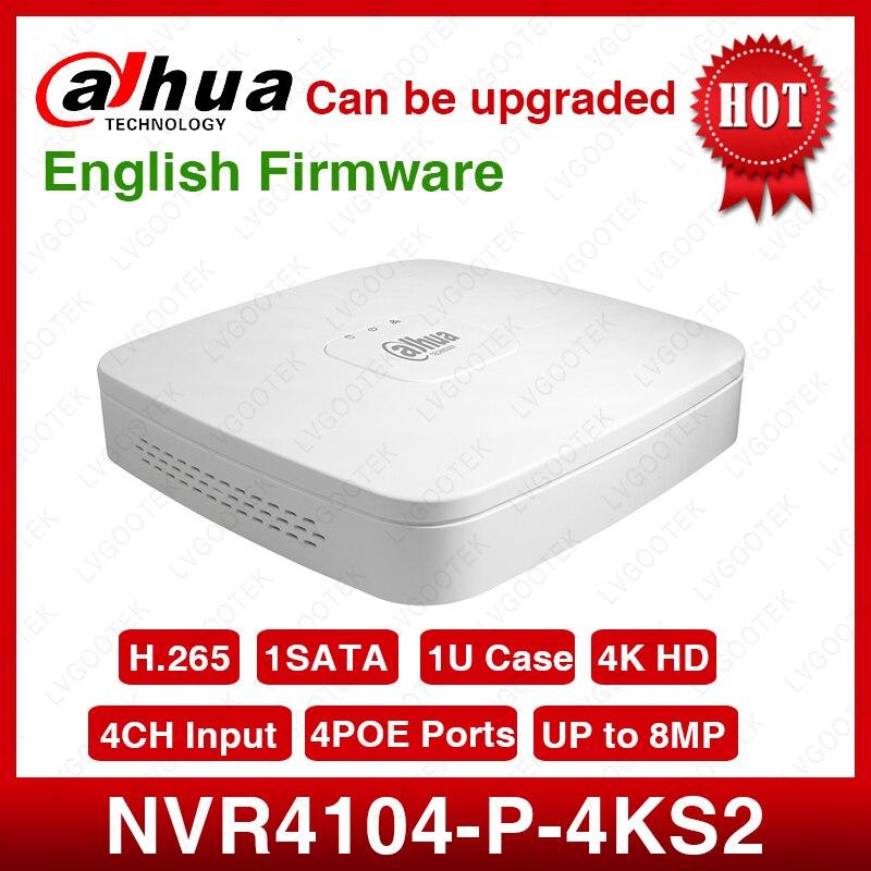 Dahua nvr NVR4104-P-4kS2 4ch nvr 8mp smart 1u 4poe 4k & h.265 lite gravador de vídeo em rede completo hd 1080 p gravador com 1 sata