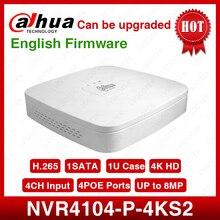 داهوا NVR NVR4104 P 4kS2 4CH NVR 8MP الذكية 1U 4PoE 4K و H.265 لايت شبكة مسجل فيديو كامل HD 1080P مسجل مع 1SATA