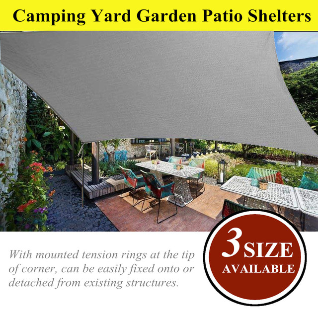 Grey Sun Shade Canopies Outdoor Camping Hiking Yard Garden Patio Shelters Cover Canopy Block Cloth Waterproof 4x5 6 7m