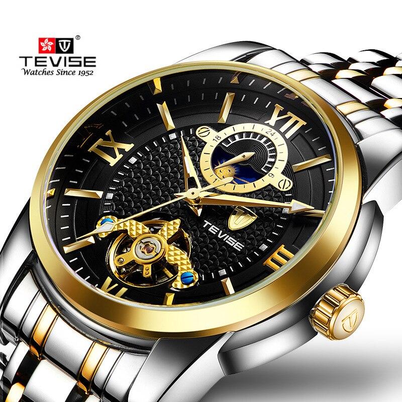 4aec2e95451 Tevise Marca de Moda de Luxo Homem Relógio Mecânico Automático fase Da Lua  de Ouro Relógios Casuais Relógio Masculino Relógio À Prova D  Água em  Relógios ...