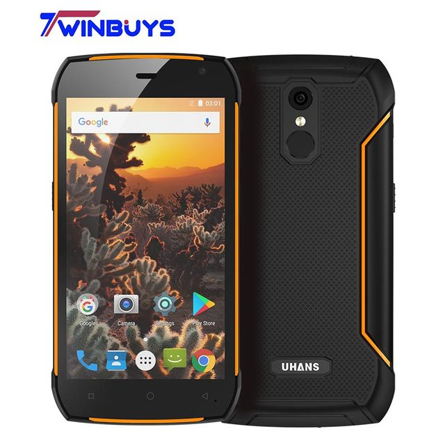 """UHANS K5000 IP68 Étanche 4G Robuste Téléphone Mobile 5000mA 3 GB + 32 GB 5.0 """"Android 7.0 MT6753 Octa-core 13MP Fingeprint Smartphone"""